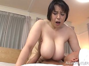 Mature Asian cougar with big tits having her pussy fingered before being hammed hardcore