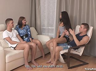 Two Russian teen couples swap and have a crazy foursome