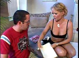 Nerdy guy gets head from mature blonde