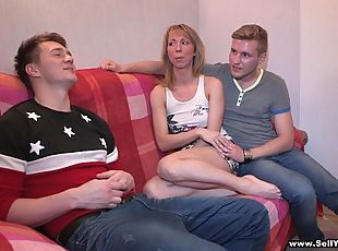Russian blonde gets fingered and drilled Hardcore in reality cuckold clip