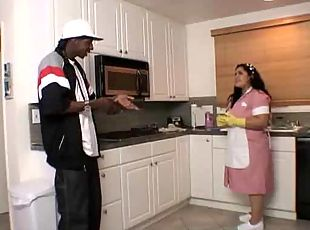 Fat Latina maid fucked by a black guy