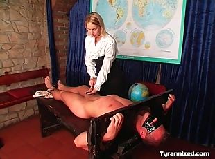 Bound by headmistress and flogged on his chest