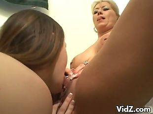 Young bitch Trista Post was caught by older slut Ami Charms playing...