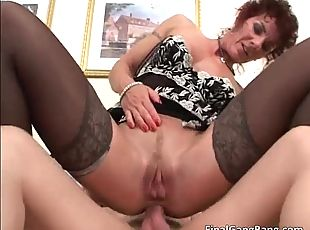 Nasty redhead MILF blows stiff rod and gets pounded hard up her tight butt and wet cunt 4 by FinalGangBang