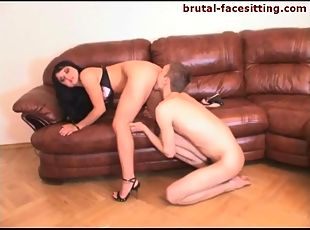 Satin bra on a mistress that demands pussy eating