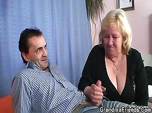 Blonde grandma gets slammed by two cocks