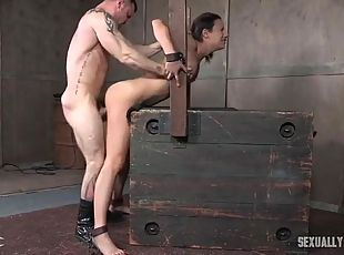 Skinny slave in his dungeon to get laid
