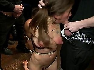 Stunning slut is abused sexually in public