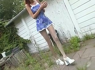 Skinny Redhead Plays In Her Pantyhose Then Makes Him Cum