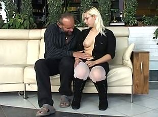 DIRTY OLD MAN BANGS NERDY BLONDE