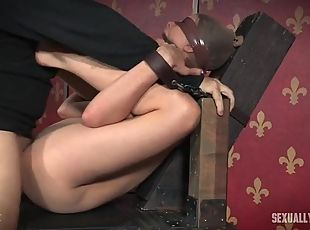 Bound and blindfolded girl is a cock whore for them