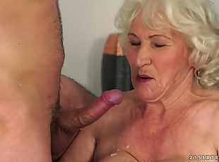 Norma the slutty granny gets fucked rough in her old pussy