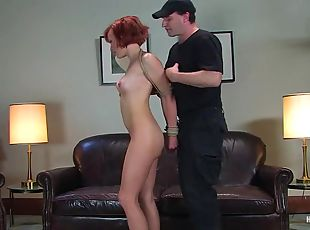 Redhead Renee Broadway gets bound and toyed in an office