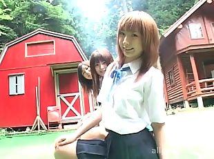 Schoolgirls flash panties and bras outdoors