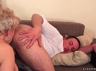 Fucked granny gives him a lusty rimjob