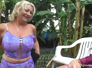 Fat ass mature blonde loves doggystyle sex