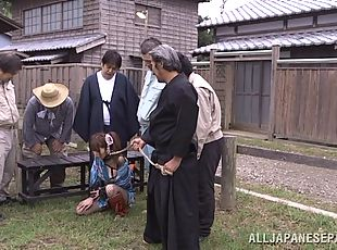 Sweet enslaved chick Miku Ohashi in a nasty group fuck action