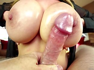 Massive boobs Asian milf gives a super slippery titjob