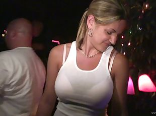 Randy sluts in public party dancing and showing off ass and tits