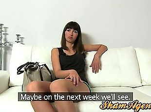 Brunette babe Suzanna got anal fucked during an interview
