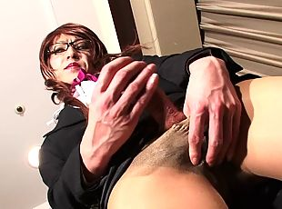 Nerdy shemale chick goes wild and exposes the private parts